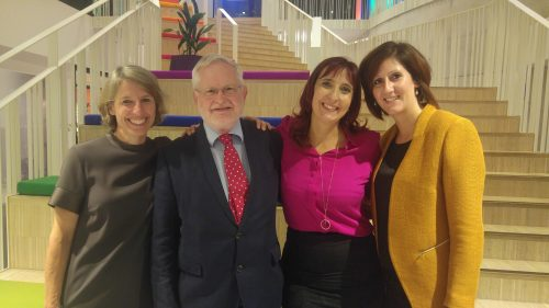 Photo of Corinna Hörst (author), John Harper (publisher), Claudia de Castro Caldeirinha (author) and Simone Meesters (design and production) at the Women Leading the Way in Brussels book launch, 27th September 2017